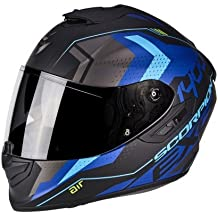 Scorpion Moto Casco Exo 1400 Air TRIKA, Negro/Azul, tamaño XS