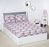#3: Bombay Dyeing Ambrosia 130 TC Cotton Double Bedsheet with 2 Pillow Covers - Red