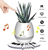 ONE SMILE Smart Music Plant Pot, Bluetooth Wireless Stereo Flower Pot Speaker, Charge by USB, Colourful Night Light Pots, Birthday or Festival Gift Garden Pot (Plant Not Included)