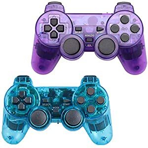 Gollec Wireless Controller Controller Controller Controller Controller Joystick kompatibel für PS2 Playstation 2 Double Shock 1 x ClearRed und 1 x ClearBlue