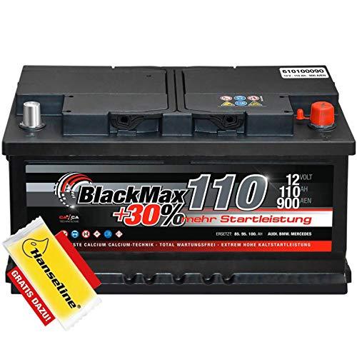Autobatterie 12V 110Ah BlackMax 30{15021f925c63f5d185f8d0f602fc64e7ddb8f87cdd4e46013f6cb1512a3b8c5b} mehr Startkraft statt 88Ah 90Ah 95Ah 100Ah inklusive Polfett