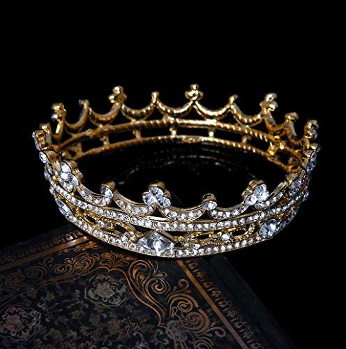 Dairyshop Gioielli spettacolo pieno intorno tiara nuziale Corona sposa strass copricapo dei capelli (Argento) Oro