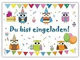12 Einladungskarten zum Kindergeburtstag Eulen // Geburtstagseinladungen Einladungen Geburtstag Kinder Erwachsene Jungen Mädchen Einladungstext 1. Vorlagen Karten Set