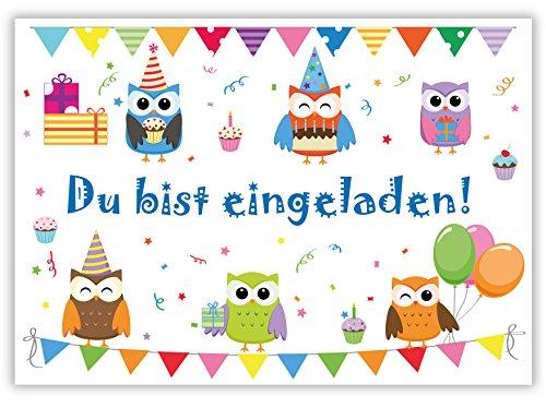 """12 Einladungskarten zum Kindergeburtstag """"Eulen"""" // Geburtstagseinladungen Einladungen Geburtstag Kinder Erwachsene Jungen Mädchen Einladungstext 1. Vorlagen Karten Set"""