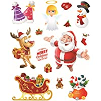BESTOYARD Adhesivos de Ventana de Navidad Pegatinas Tienda de Ventana Espejo Pegatinas de Puerta de Pared Sala de Estar Adorable Decoraciones de Dormitorio 10PCS (Patrones Surtidos)