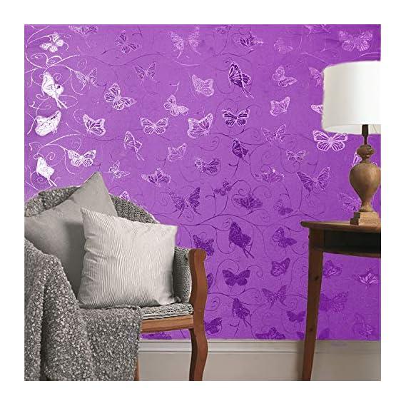 akadeco self Adhesive Decorative multipupose Shined Purple PVC Wallpaper (1 roll Size - 330X45cm)