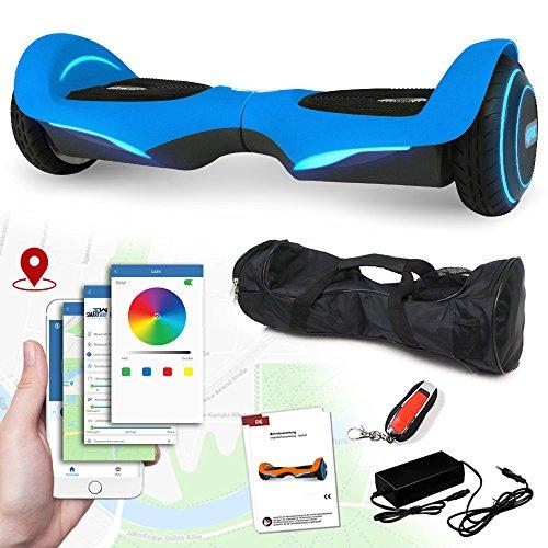Balance Scooter Vision 800 Watt mit App Funktion, Beleuchtete Felgen mit RGB-LED Farbwechsel, Bluetooth Lautsprecher, Kinder Sicherheitsmodus Elektro Self Balance E-Scooter (blau)
