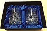 Hand Cut 24% Lead Crystal Whisky Glasses x 2 in Presentation Box