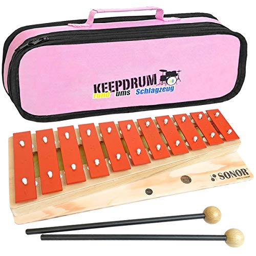 Sonor G10 Kinder Glockenspiel Sopran + keepdrum Tasche Bag Pink