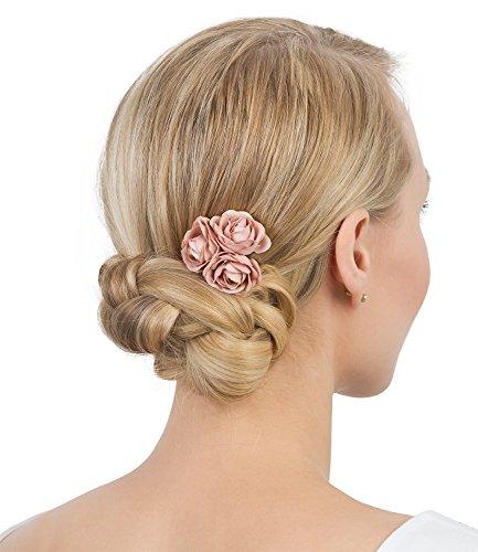 SIX 'Hochzeit' antikgoldene Haarspange mit Rosen-Blüten aus rosa Stoff, Brautschmuck (24-622)