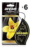 Areon Mon Ambientador Coche Vainilla Negra Vanilla Black Casa Colgante Colgar Olor Perfume Original Cartón Retrovisor Oficina 2D ( Pack de 6 )