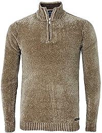 d605dcedb2a8c1 Threadbare Mens Chenille Half Zip Jumper Knitwear Sweater Top Pullover  Torres