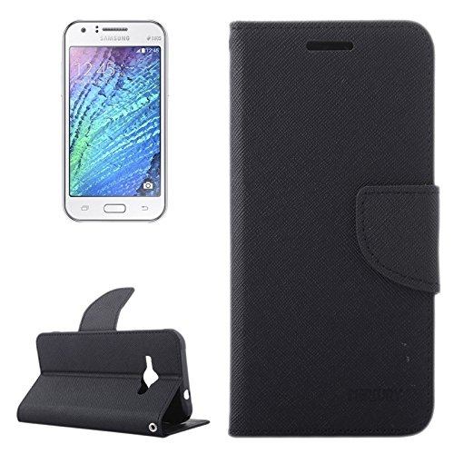 Für Samsung Galaxy J1 Ace / J110 Kreuz Textur Kontrast Farbe Stil Leder Tasche mit Halter & Card Slots & Wallet YongYeYaoBEN ( Color : Black ) (Kontrast Leder Farbe)