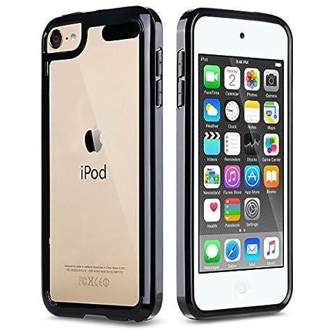iPod Touch 5 6 Hülle, ULAK iPod Touch Case Weiche Silikon TPU Schutzhülle Stoßdämpfung Bumper und Anti-Kratz PC Zurück Case Cover für iPod Touch 5 6 Generation (Schwarz)
