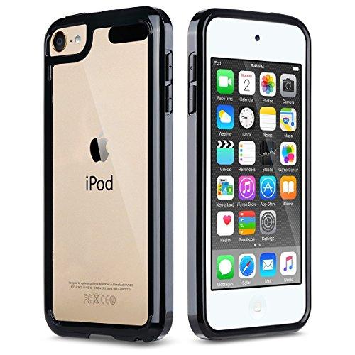 ULAK iPod Touch 5/6 Hülle, iPod Touch 6g Weiche Silikon TPU Schutzhülle Stoßdämpfung Bumper und Anti-Kratz PC Zurück Case Cover für iPod Touch 5/6 Generation (Schwarz) - 5 Ipod Schwarz Bumper Case