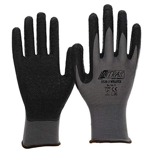 NITRAS Nylotex 3520 Nylon-Latexhandschuhe Arbeitshandschuhe 12 PAAR Größe 10 (XL) Nylon-handschuh