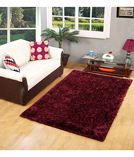Homefab India Designer Maroon Fur Floor Carpet(90X150 cms)