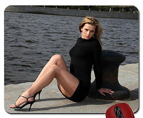 Beine Frauen Wasser Russische Modelle Strumpfhose High Heels Ohrringe Maus Pad (25,9x 21,1x 0,3cm)