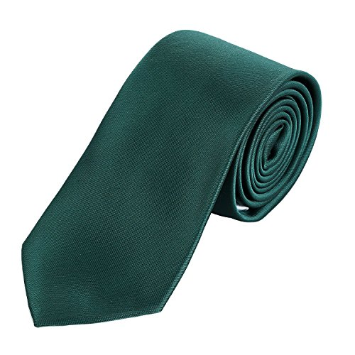 Dondon cravatta uomo 7 cm classica fatta a mano per il lavoro o occasioni speciali verde scuro