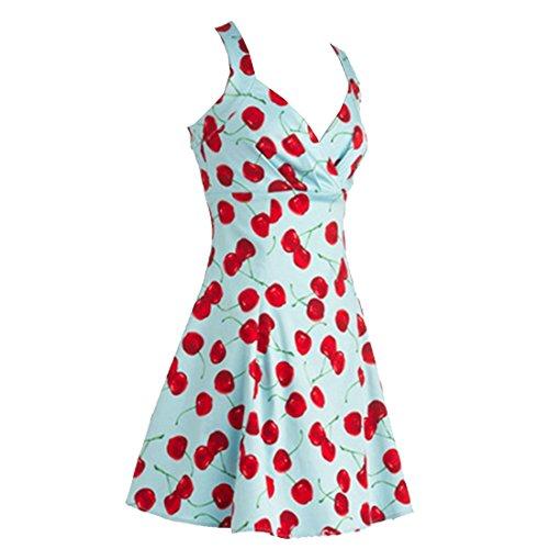 partiss Mesdames Hepburn Jupe Jupon années 50rétro vintage col en V Cerise Big slim fit robe Bleu