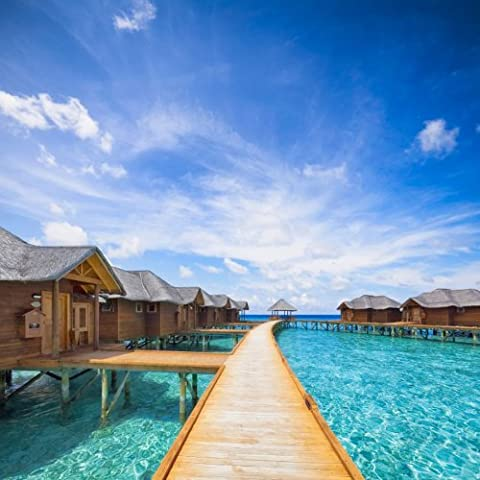 Fototapete Malediven Hotel KT365 Größe: 300x260cm Südsee Uhrlaub Asien