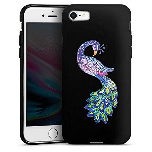 Apple iPhone 7 Silikon Hülle Case Schutzhülle Pfau ohne Hintergrund Feder Silikon Case schwarz