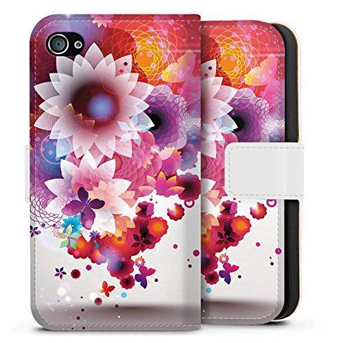 Apple iPhone X Silikon Hülle Case Schutzhülle Bunt Blumen Schmetterlinge Sideflip Tasche weiß