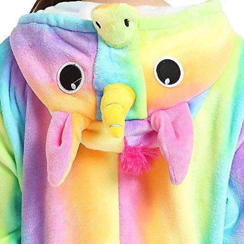 Misslight Einhorn Pyjama Damen Jumpsuits Tieroutfit Tierkostüme Schlafanzug Einhorn Kostüme Tier Sleepsuit mit festival tauglich Erwachsene und Kinder Rainbow3