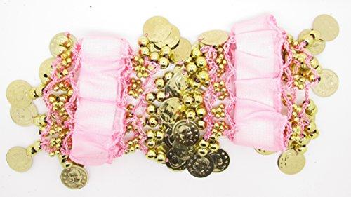 Danza del Vientre Muñequera de pulsera (par) rosa y dorado Talla única