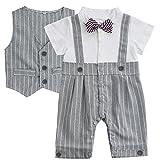 Freebily Baby Smoking Junge Strampler + Weste Gentleman Overall Bodysuit Anzug Babyanzug Bekleidungssets Kleikind Festliche Kleidung für 3-18 Monate Grau 3-6 Monate