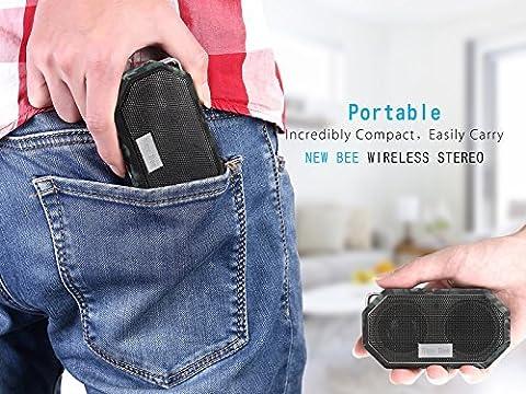 LESHP Enceinte de Poche Bluetooth étanche Haut-parleur Wireless Portable Président Douche haut-parleur avec Mic, appel mains libres Fonction de douche, voyage, randonnée, activités en plein air (Vert)
