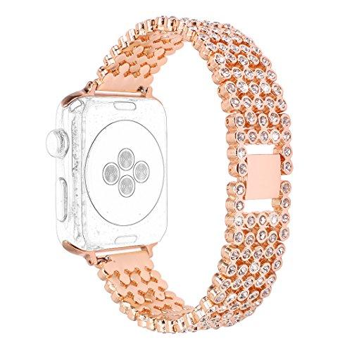 Cinturino per Apple Watch 42mm Angolf iWatch cinghie da 42mm in acciaio INOX strass Bling Smart Watch replacement strap fibbia per...