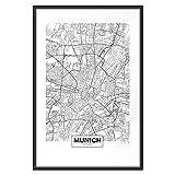 murando - Poster Stadt München - 30x45 cm - Kunstdruck - Wandbild - Print - Bilder - Bilderrahmen - Karte d-B-0227-ao-a