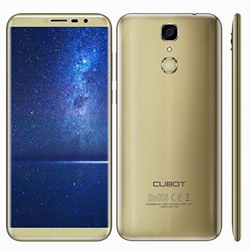CUBOT X18 - 5,7 Zoll Bildschirm (18: 9 Seitenverhältnis) Ultra-Slim Android 7.0 4G Smartphone, 13MP + 16MP Dual Kamera, Quad Core 3GB RAM 32GB ROM, Fingerabdruck 3200mAh - GOLD