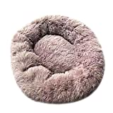 Syfinee Pet Dog Bed Plush Donut Cuddler Cats Bed Warm Plush Dog Puppy Mat Pet Bed Round Donut Cat and Dog Cushion Bed Self-Warming and Cozy Deep Dish Curly Faux Fur Refillable Nest for Improved Sleep