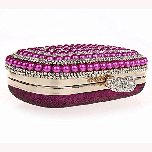 borsa da sera frizione nuovo sposa mini anello pacchetto perline diamante borsa banchetto ( Colore : Nero ) Rose red
