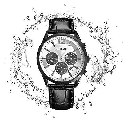 JETIME Reloj De Los Hombres Correa De Cuero Suave De La PU Cronógrafo Deportes A Prueba De Agua Reloj De Cuarzo Reloj Multifunción Calendario De Fecha