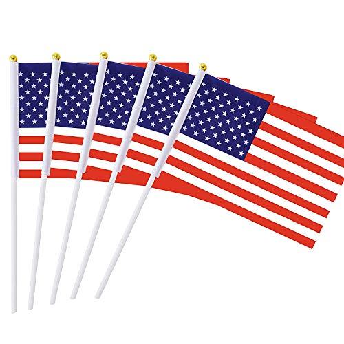 MLIAN 25er Set Handflaggen Amerikanische USA Mini Fahne Vereinigten Staaten Fußball Deko 22 x 14 cm