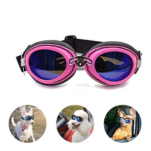 BABYS'q PET Sonnenbrille, Winddichte UV-Schutzbrille Strahlenschutz Outdoor-Hund Schwimmbrille, Für Große Mittlere Hunde,Pink