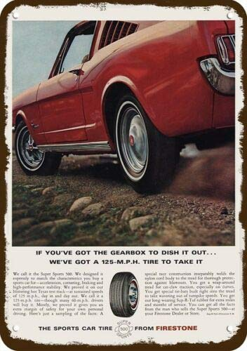 Laptopo 1965 Feuerstein Reifen und Ford Mustang Fastback Auto-Replik Metallschild (Reifen Replik)