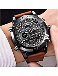 Micacchi Analogue - Digital Men's Watch (Multicolor Dial Brown Colored Strap)