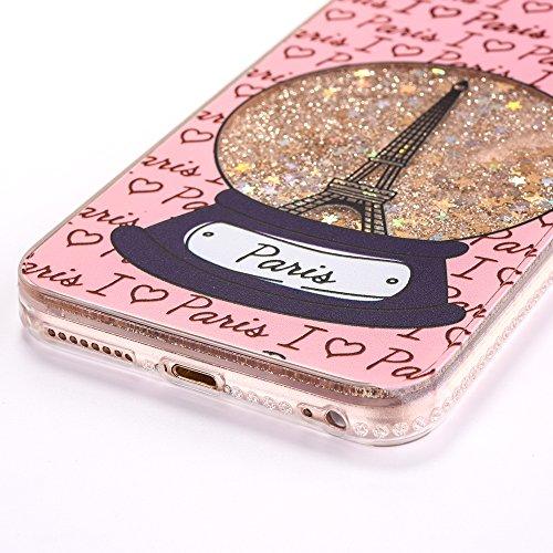 iPhone 6 Plus/6S Plus 5.5 Hülle, Voguecase Flüssig Diamant Treibsand Silikon Schutzhülle / Case / Cover / Hülle / TPU Gel Skin für Apple iPhone 6 Plus/6S Plus 5.5(Kristallturm / Pink) + Gratis Univers Kristallturm / Gold