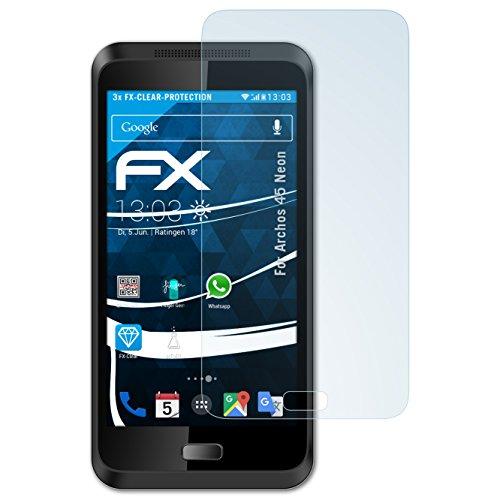 atFolix Schutzfolie kompatibel mit Archos 45 Neon Folie, ultraklare FX Displayschutzfolie (3X)