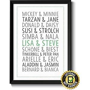 DU & ICH TRAUMPAARE Bild mit Namen personalisiert optional mit Holz-Rahmen Geschenk Geschenkidee Verliebte Paare Freund-in
