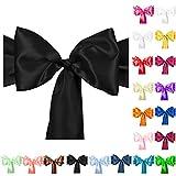 TtS 1/10/50/100pcs 275cmx18cm Satin Chair Cover Bow Sash 20 Colors Available Wedding Reception Banquet Decoration