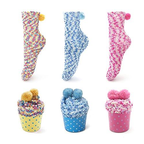 Spaß Socken Frauen (SAMGOO 1 oder 3 Paar Cupcakes Design Mädchen Damen Socken Weihnachtssocken Flauschig Innenfell Festlicher Spaß Neuheit Weihnachtsgeschenk Geschenkbox (3 paar(Gelb+Blau+Pink)))