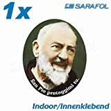1x San Pio adesivo Indoor specchiato (Nr.028) Padre Pio 4,5x5,5 cm