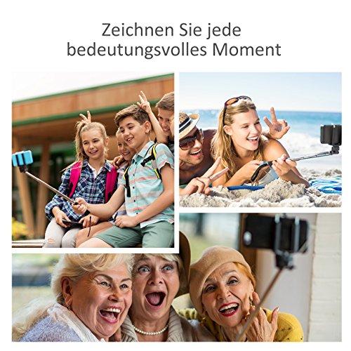 Mpow iSnap X U-Form Selfie Stange Erweiterbar Selfie-Stick mit integrierter Bluetooth Fernauslöser für iPhone 6 6S 6 Plus 6S Plus 5S 5 5C 4S 4, HTC M9 M8, Samsung,Sony Z5 Z4 Z3 Compact, MP3 Players usw. - Schwarz - 6