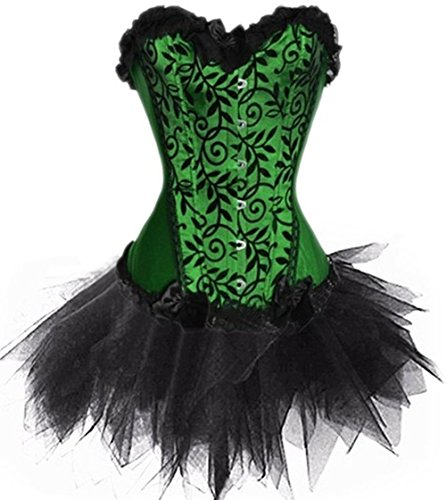 Donna Lace Up Boned Vintage Busk Corsetto e Layered Mini Gonna Set Green-Black (38-40)M