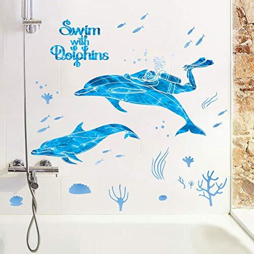 r Delphin Ozean Stil Thema Dekoration Badezimmer Badezimmer Fliesen Wandaufkleber Wasserdicht 50 * 70 ()